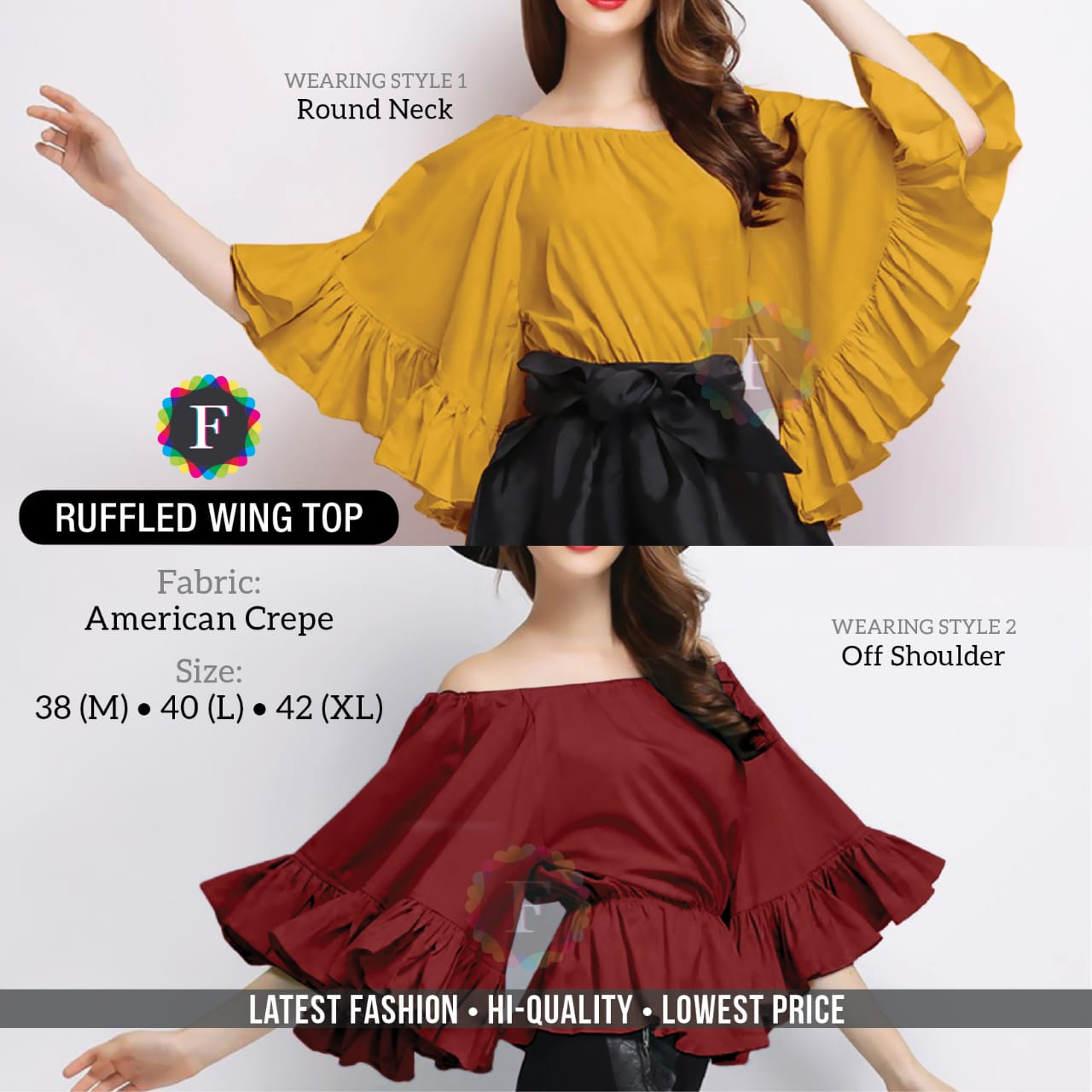 Ruffled Wing Top Western Girls Tops Stylish Collection