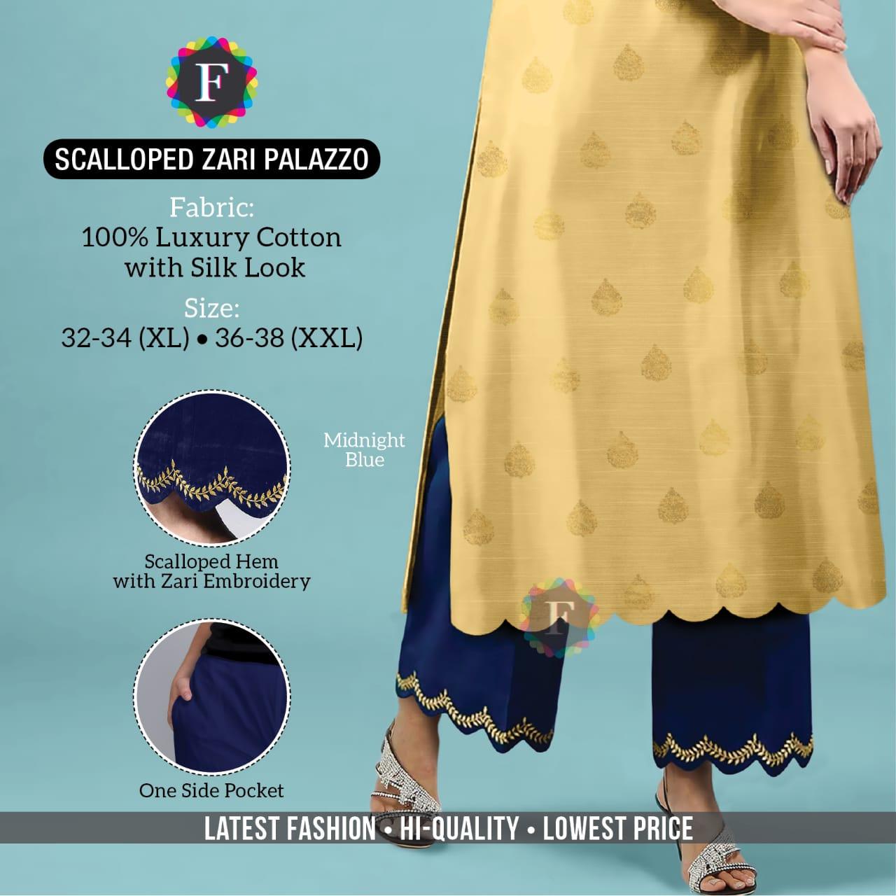 Scalloped Zari Palazzo Ethnic Western Wear Bottom Plazo Collection