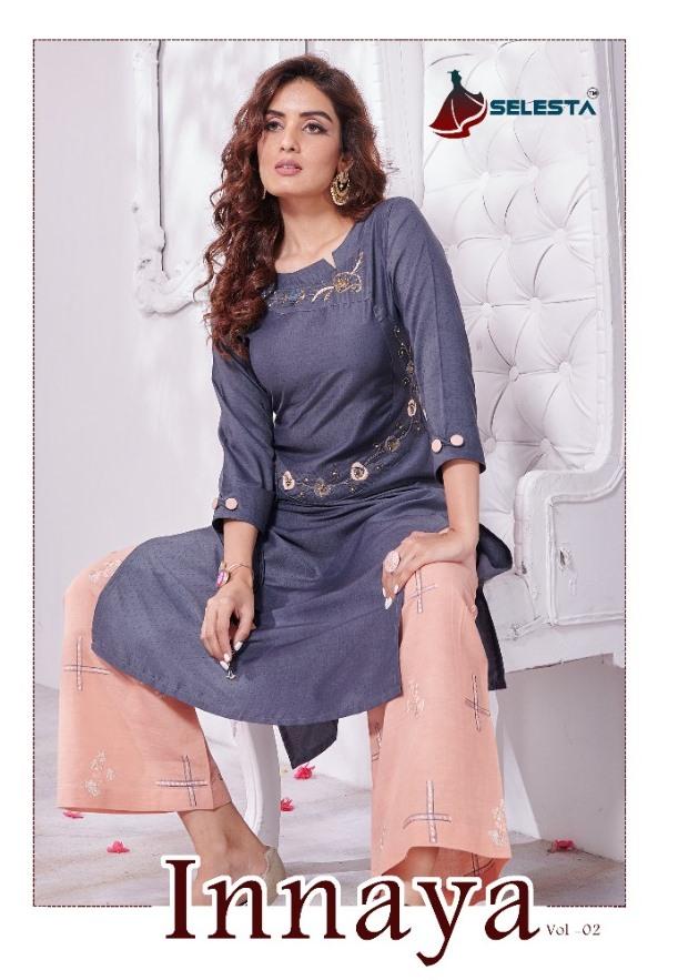 Selesta Presenting Innaya Vol 2 Chinon Silk Kurti With Cotton Plazzo Classy Look Collections