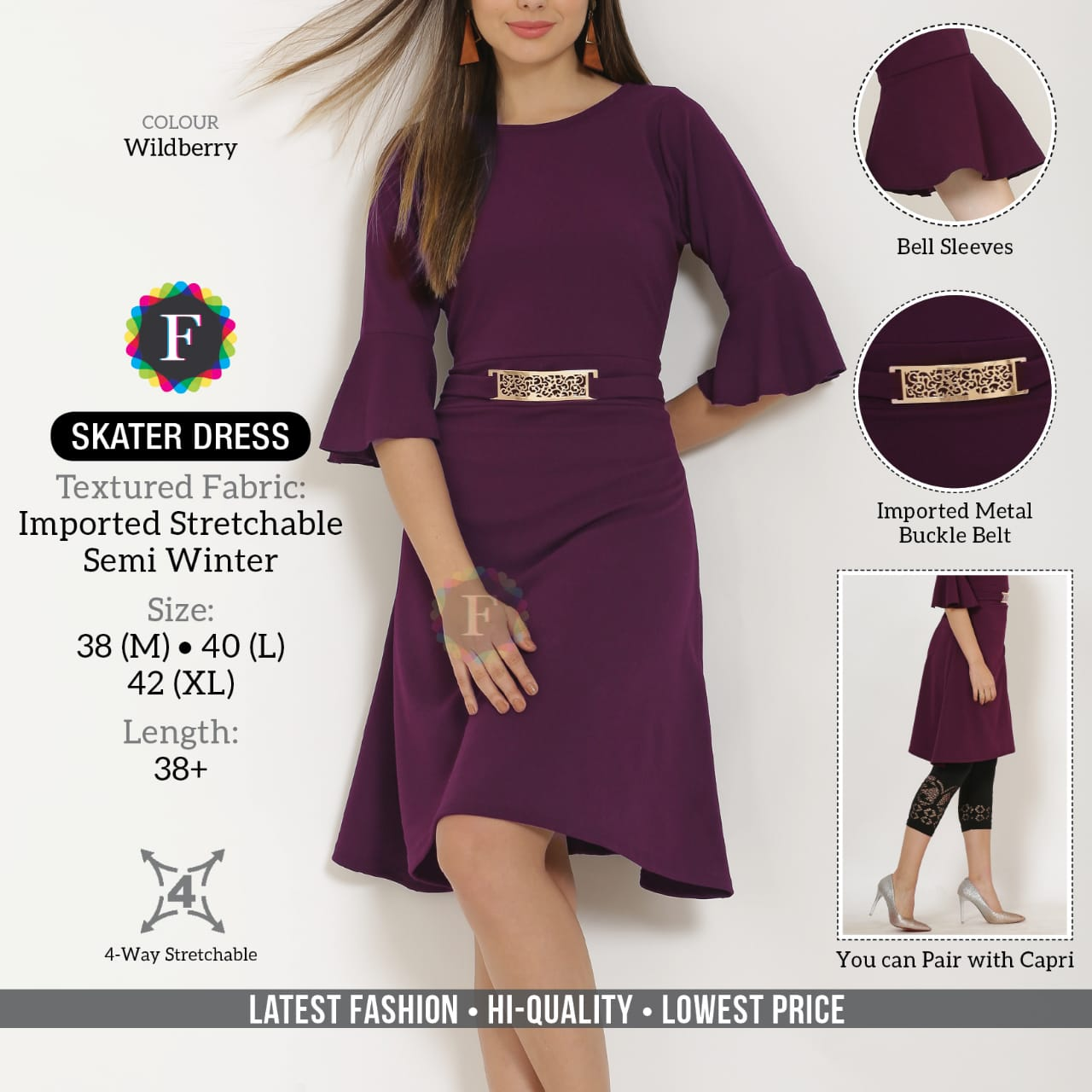 Skater Dress Imported Stretchable Western Wear Tops Wholesaler In Surat
