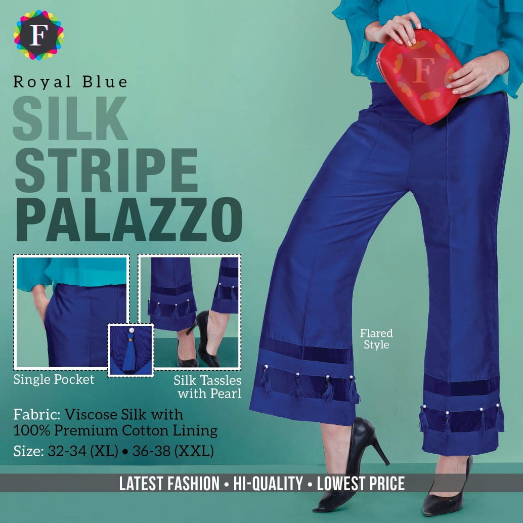 Stripe Silk Palazzo Cotton Silk Palazzo Bottom Collection