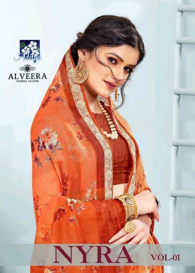 Alveera Presenting Nyra Digital Chiffon With Viscose Border Stylish Saree At Best Rate