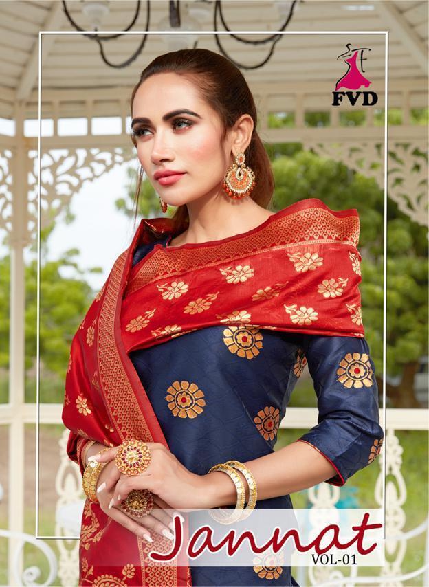 Fvd Launching Jannat Vol 1 Banarasi Jacquard Readymade Designer Festival Wear Suits