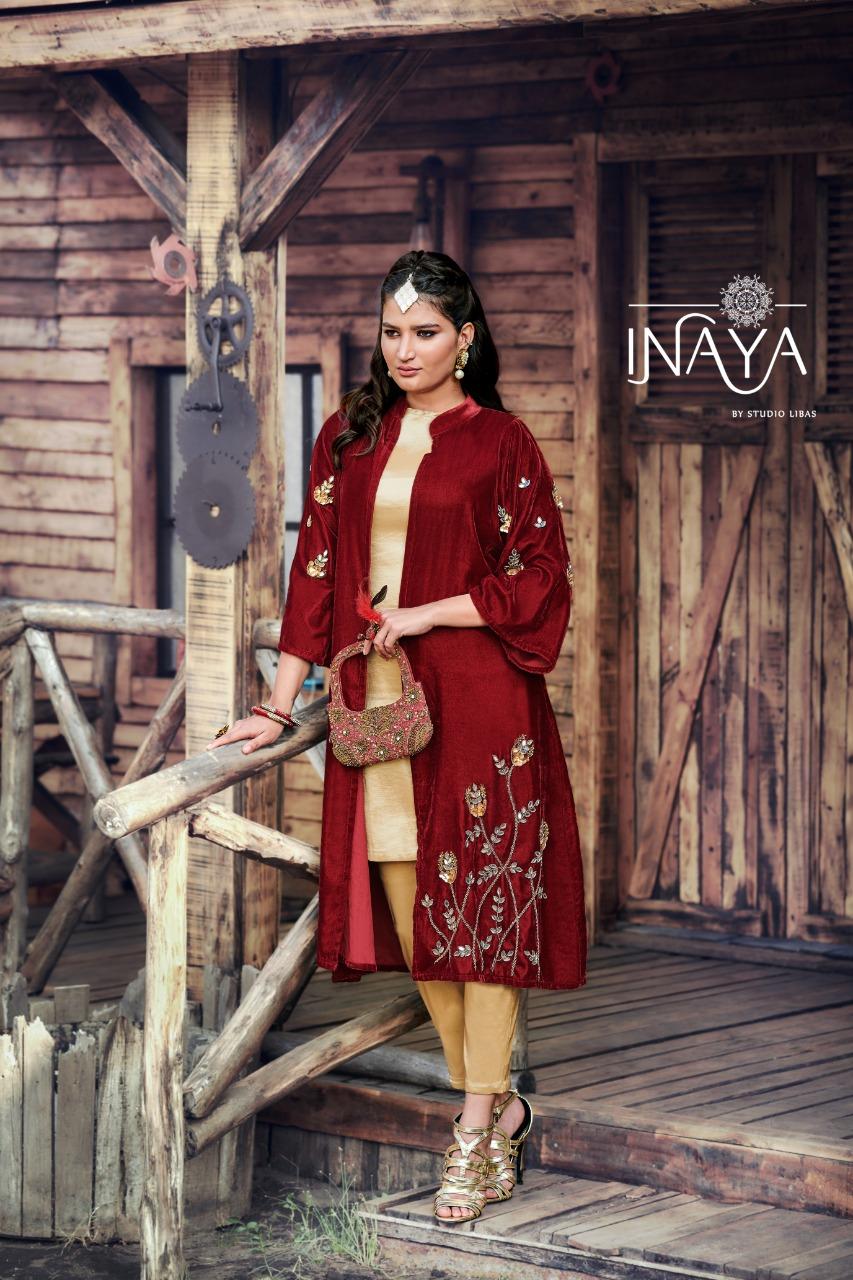Inaya By Libas Studio Launch Lpc 72 Designer Beautiful Velvet Jacket Top With Bottom Collections