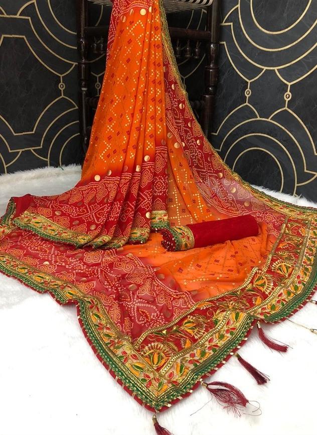 Jalnidhi Launch Sindoor Heavy Georgette Marble Fancy Work Bandhani Print New Saree Catalogs