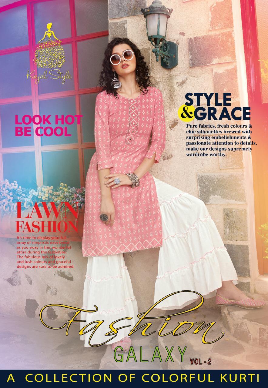 Kajal Style Fashion Galaxy Vol 2 Rayon Print Kurti With Sharara Plazzo And Pant Pair