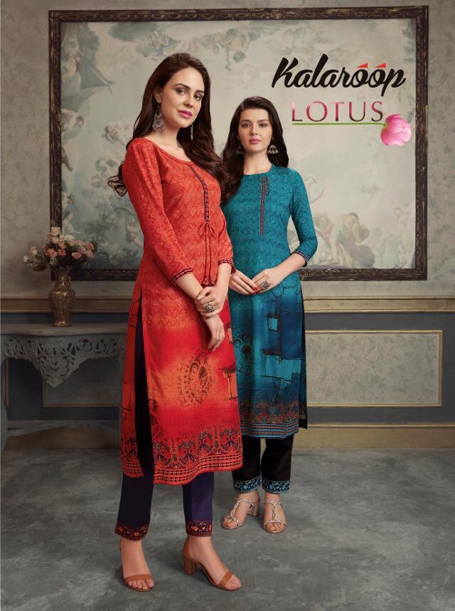 Kalaroop Lotus By Kajree Rayon Printed Top With Jam Silk Pant Collection