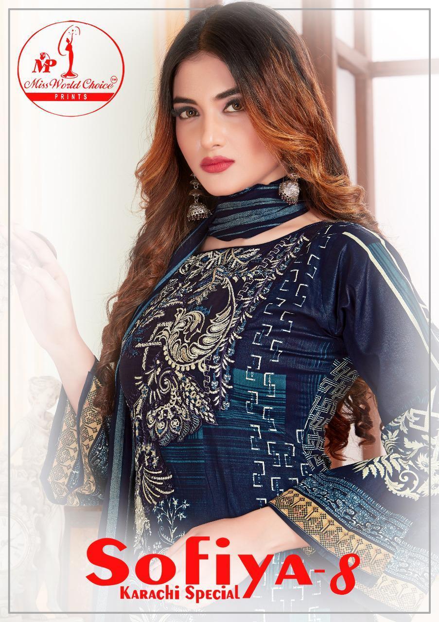 Miss World Choice Sofiya Karachi Vol 8 Cotton Daily Wear Dress Materials At Lowest Rate
