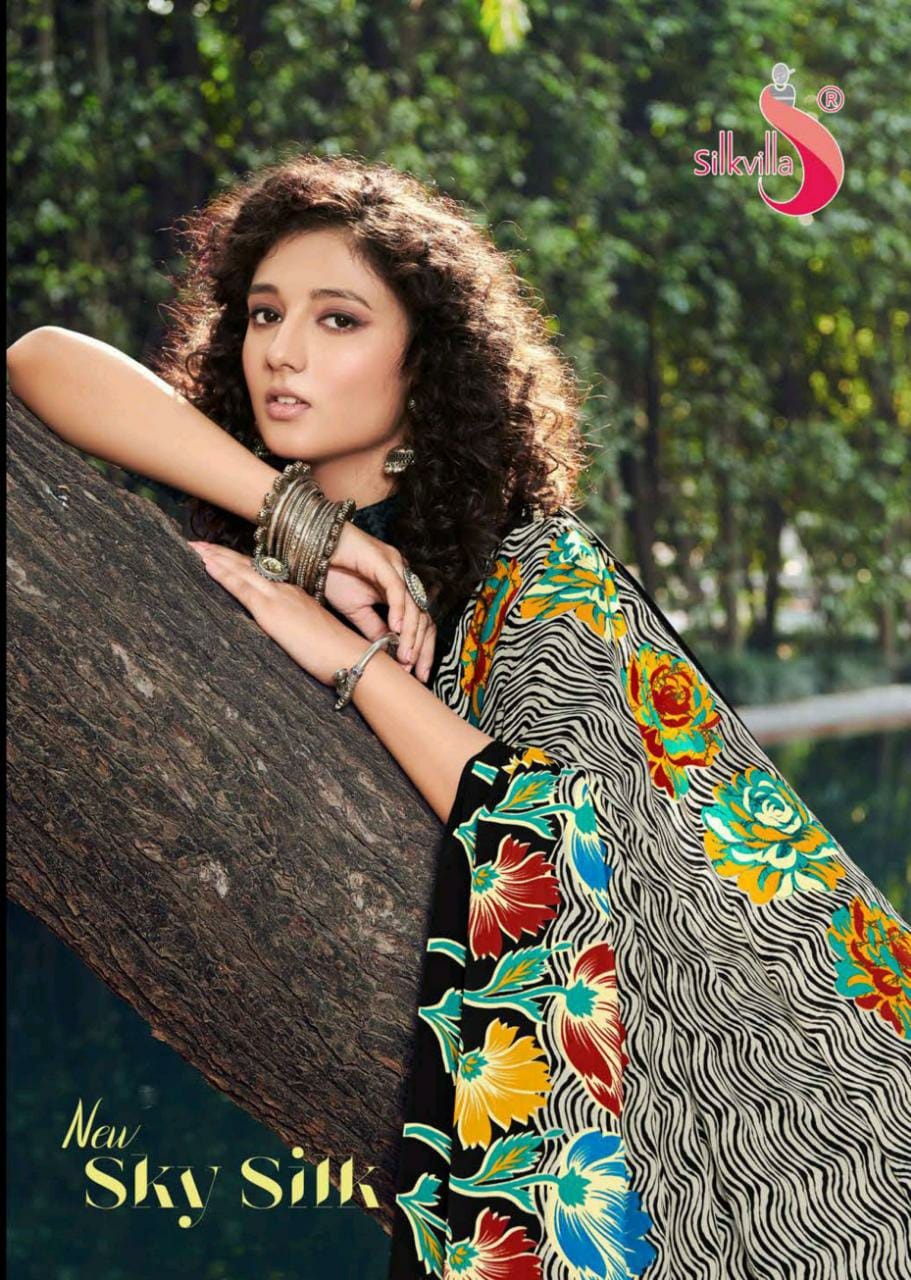 New Sky Silk By Silk Villa Exclusive New Design Print Silk Crape Saree Online Exporter