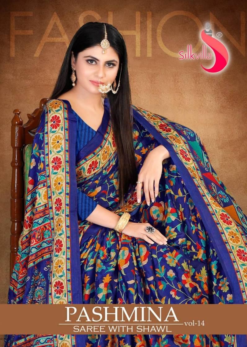 Pashmina Saree With Shawl Vol 14 By Silk Villa Fancy Latest Pashmina Saree At Wholesale Rate