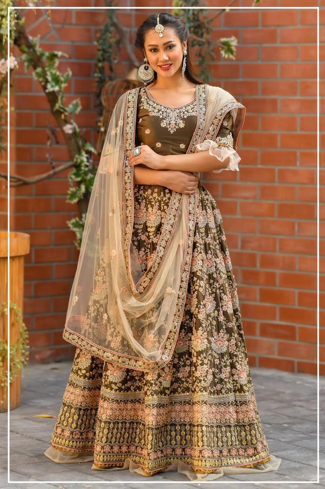 Peafowl Vol 62 Exclusive Bridal Wear Satin Silk Fancy Lehanga Wholesaler