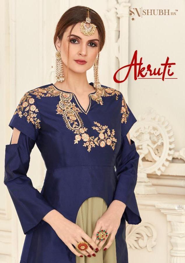 Shubh Nx Launch Aakruti Soft Silk Long Designer Party Wear Kurti In Surat Textile Market