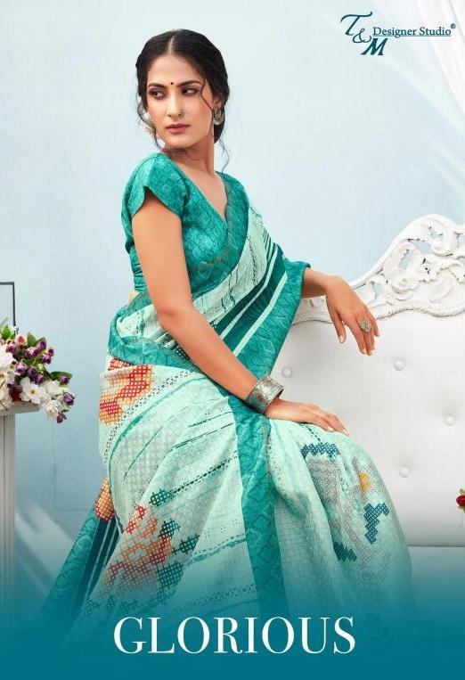 T And M Launch Glorious Polyester Zari Checks New Design Print Saree Catalogs Trader
