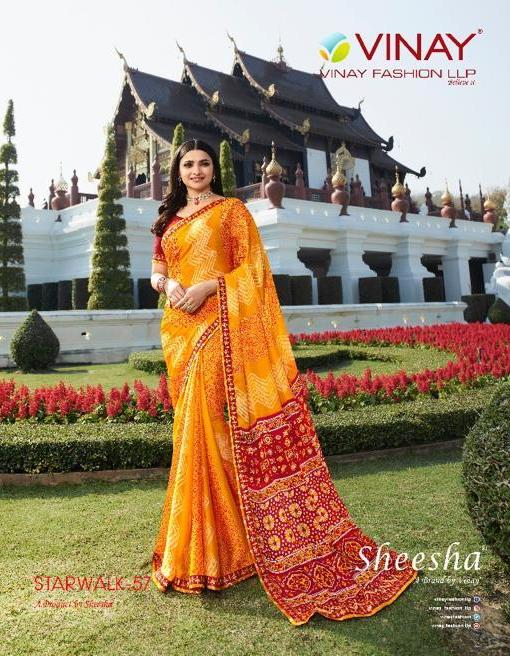 Vinay Starwalk 57 Series 22921-22927 Chinnon Chiffon Bandhani Saree