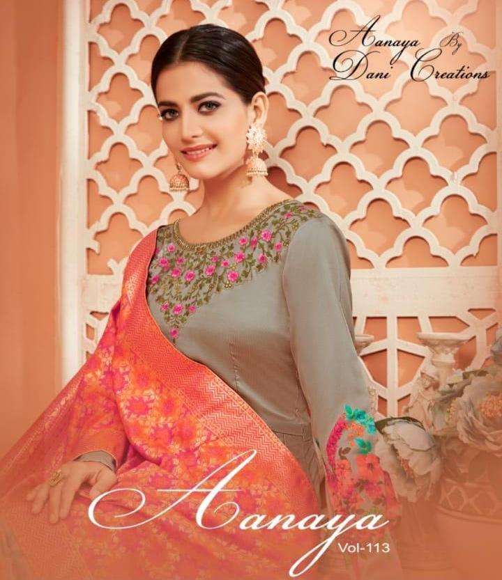 Aanaya Vol 113 By Twisha Monga Satin Silk Long Floor Length Salwar Suit Wholesaler