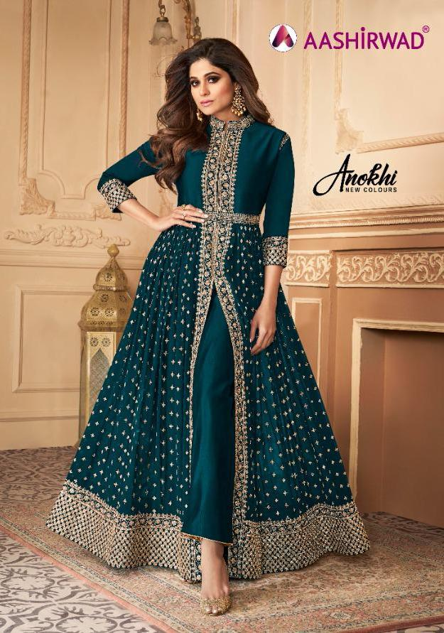 Aashirwad Anokhi Real Georgette Long Designer Party Wear Salwar Suits Wholesaler In Surat
