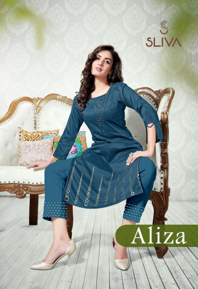 Aliza By Sliva Chinon Slub With Work Kurti With Pant At Online Shopping In Surat Market