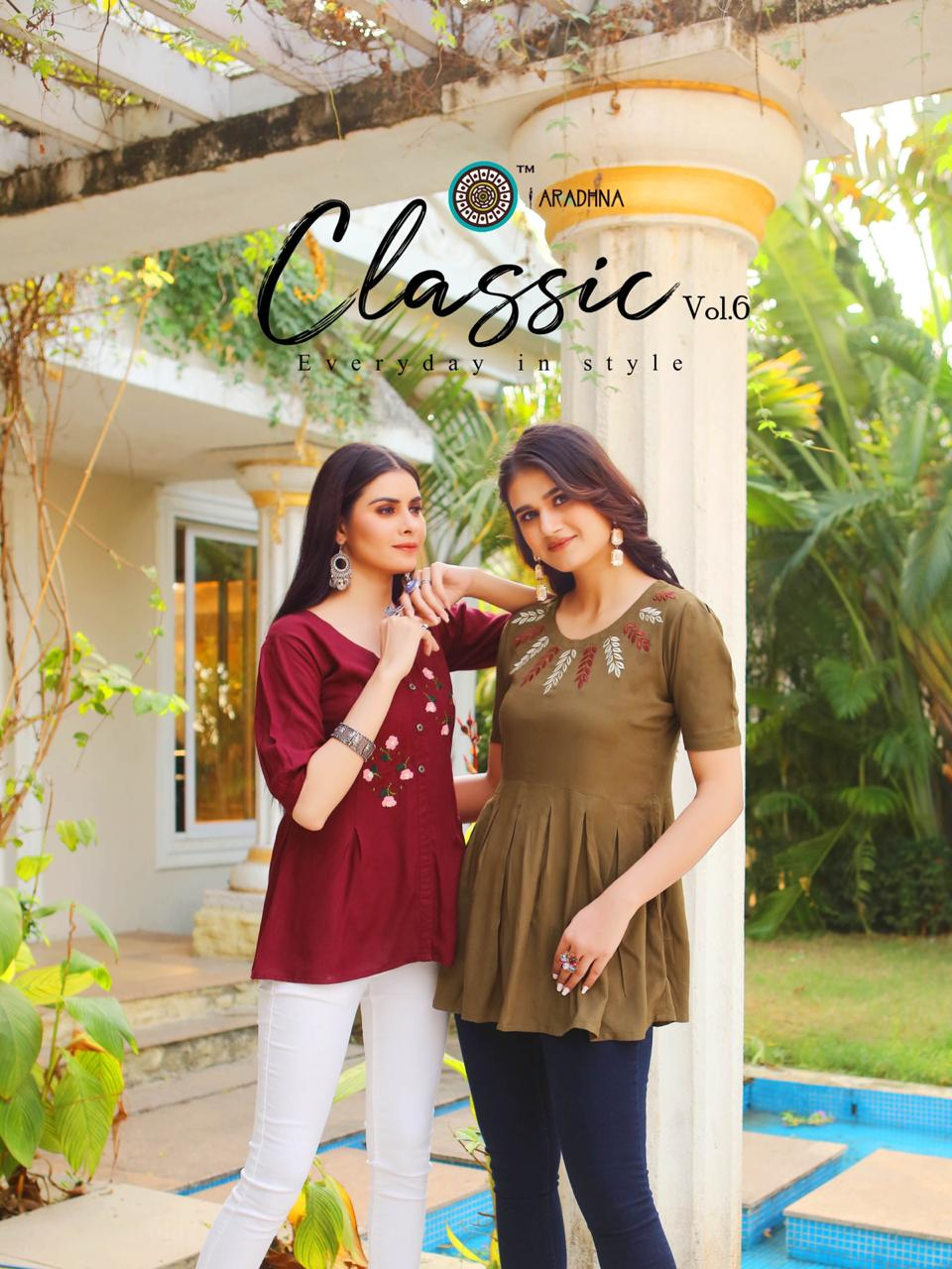 Aradhna Launch Classic Vol 6 Heavy Rayon Embroidery Westerns Short Tops For Girls