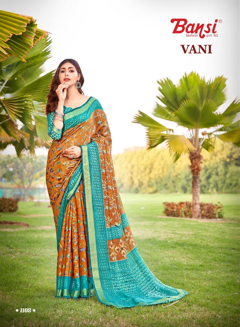 Bansi Fashion Launch Vaani Black Brasso Exclusive New Design Print Saree