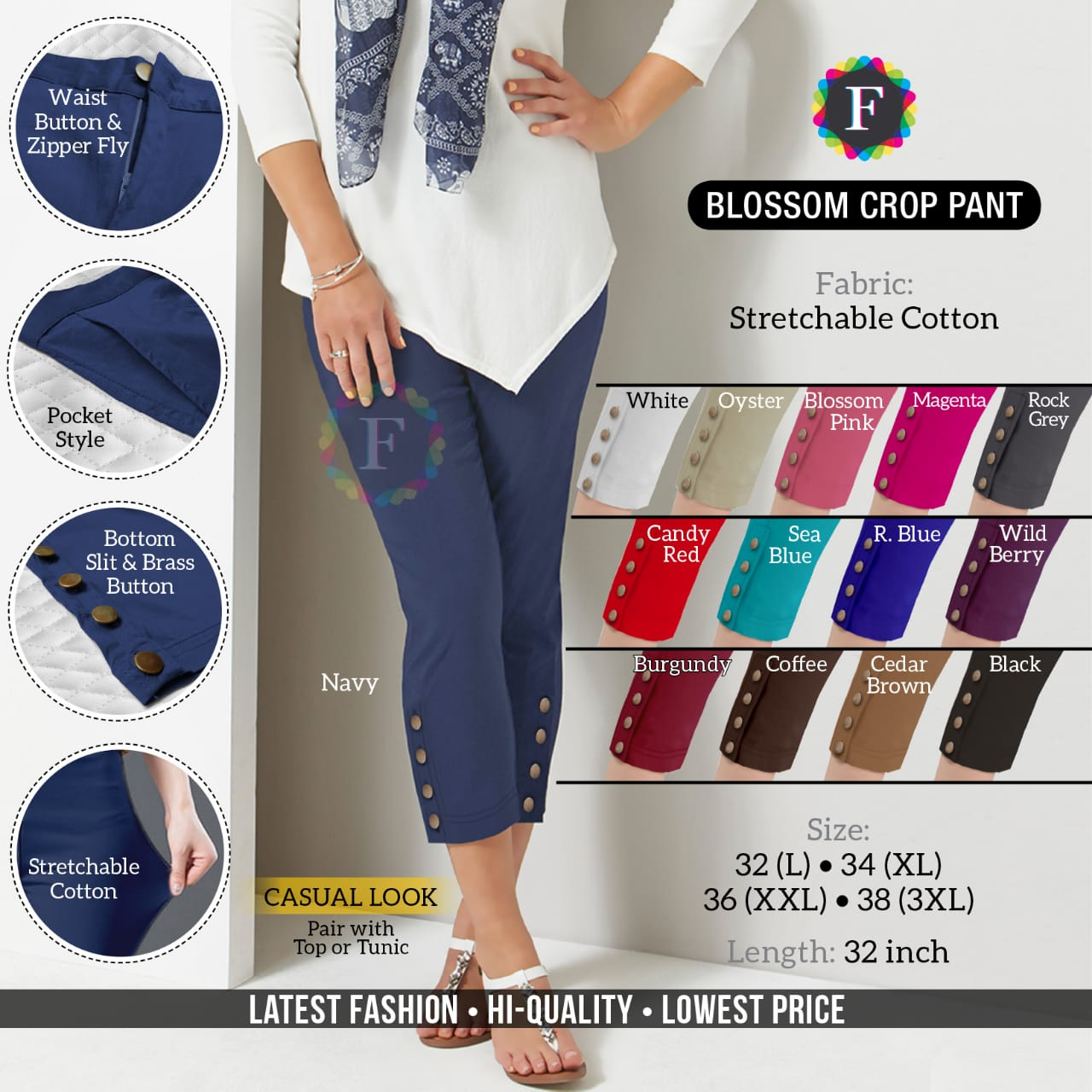 Blosson Crop Pant Stretchable Cotton Summer Bottom Pants Collection