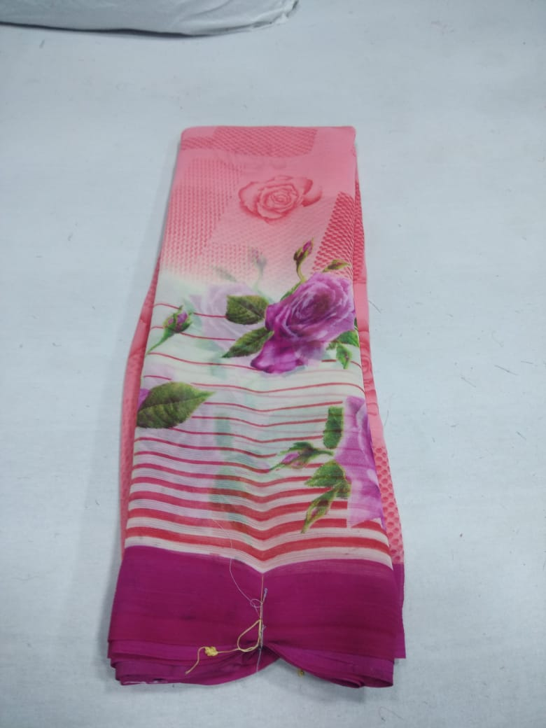 Chiffon By Narmada Daily Wear Casual Printed Chiffon Saree At Chipest Rate In Surat Market