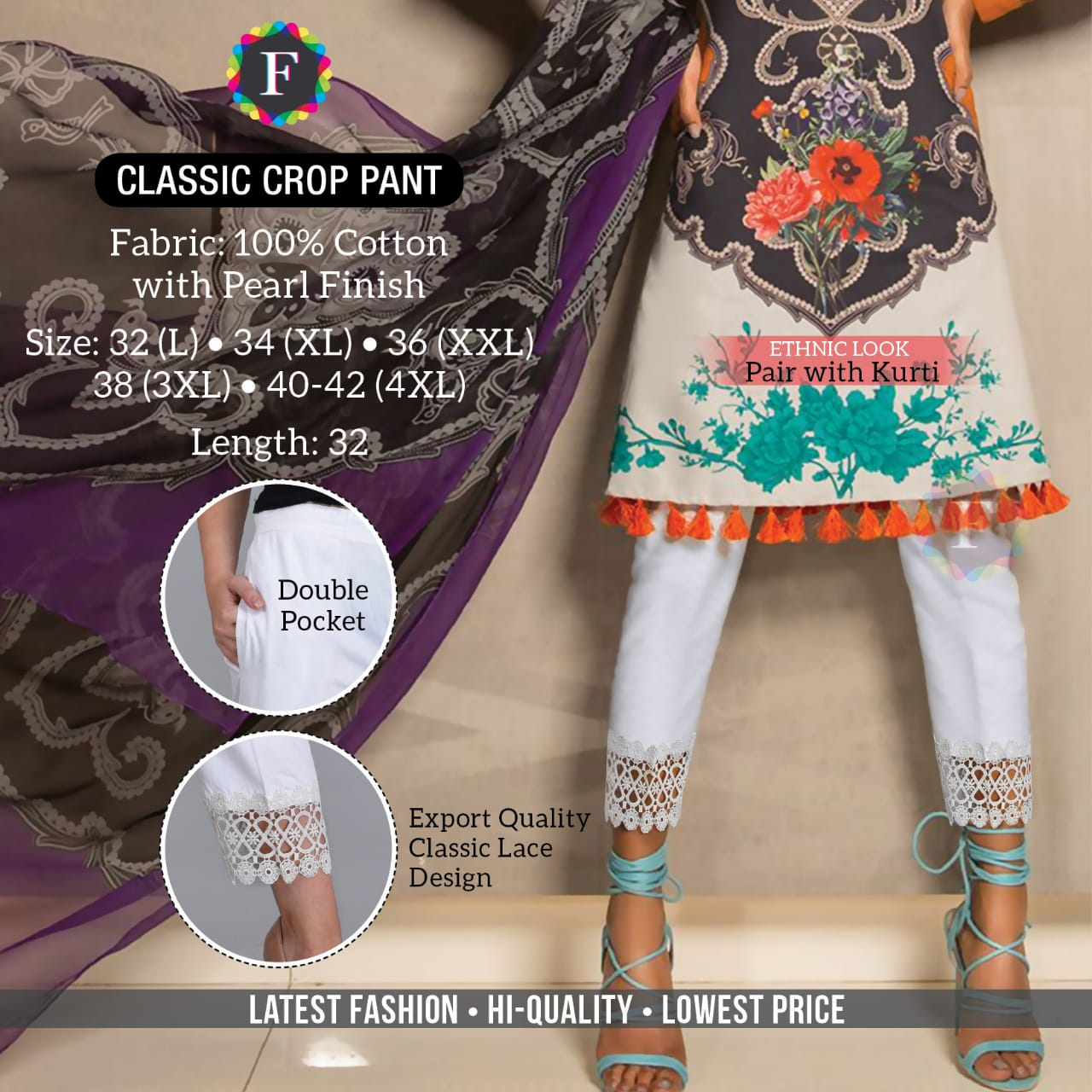 Classic Crop Pant Stylish Fancy Summer Wear Bottom Pant Collection