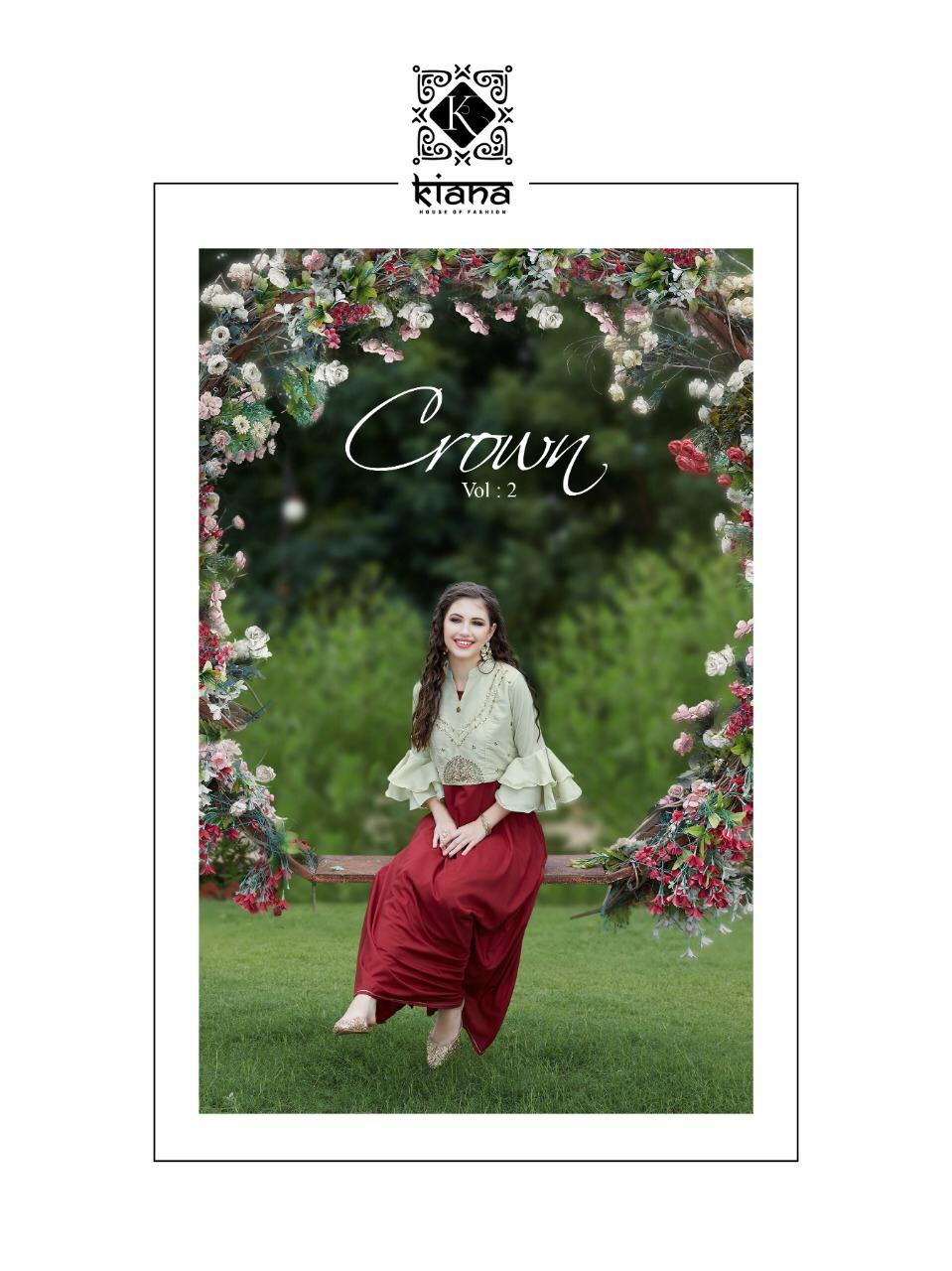 Crown Vol 2 By Kiana Rayon Muslin Silk Rich Look Exclusive Long Kurti Exporter