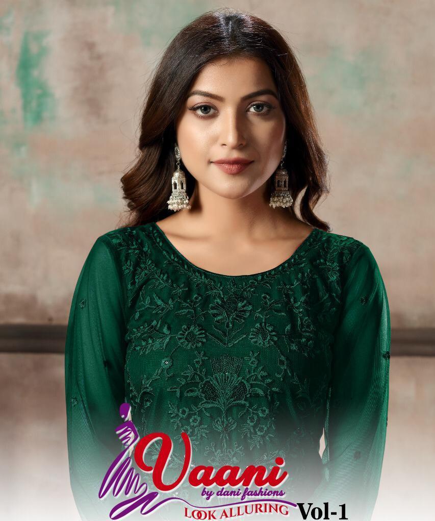 Dani Launch Arrival Vaani Net Vol 1 Net With Heavy Work Party Wear Salwar Suits Wholesaler