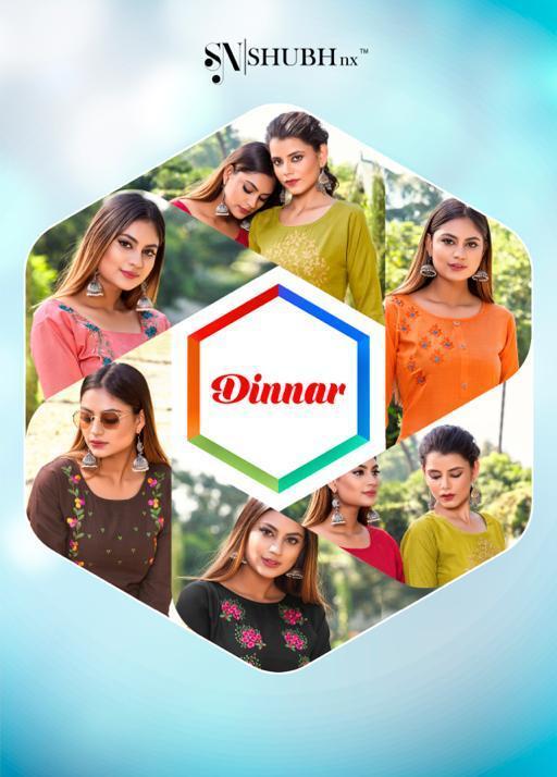 Dinnar By Shubh Nx Slub Embroidery Daily Wear Cheap Rate Kurti Catalogue
