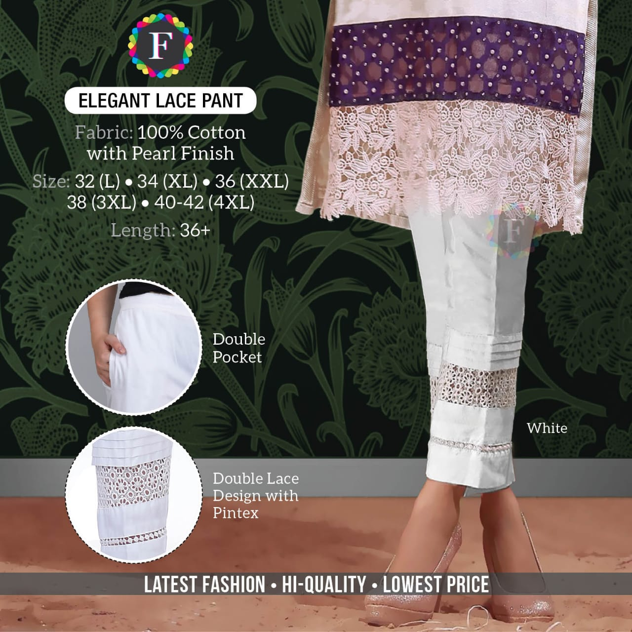 Elegant Lace Pant Fancy Bottom Wear Cotton Pants Collection At Lowest Cost