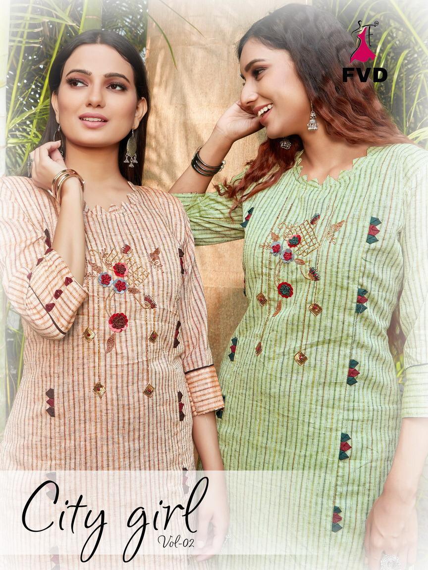 Fvd Present City Girl Vol 2 Cotton Khatli Work Exclusive Party Wear Kurti With Sharara