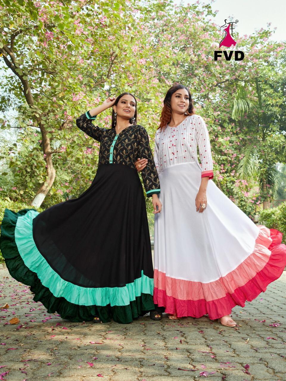 Fvd Presents London Dreams Vol 1 Long Gown Pattern Rayon Print Kurti Catalogs