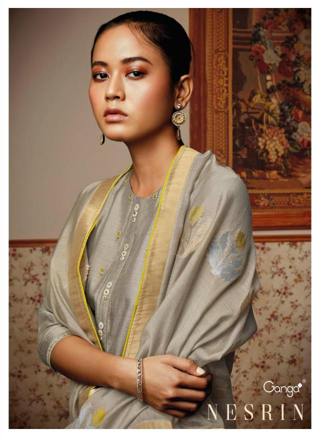 Ganga Present Nesrin Bemberg Silk Embroidery Suits Supplier In India