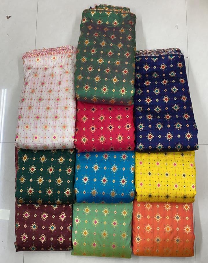 Heavy Banarasi Jacquard Multi Colors Fabrics Garment Jacquard Fabric Manufacturer In Surat
