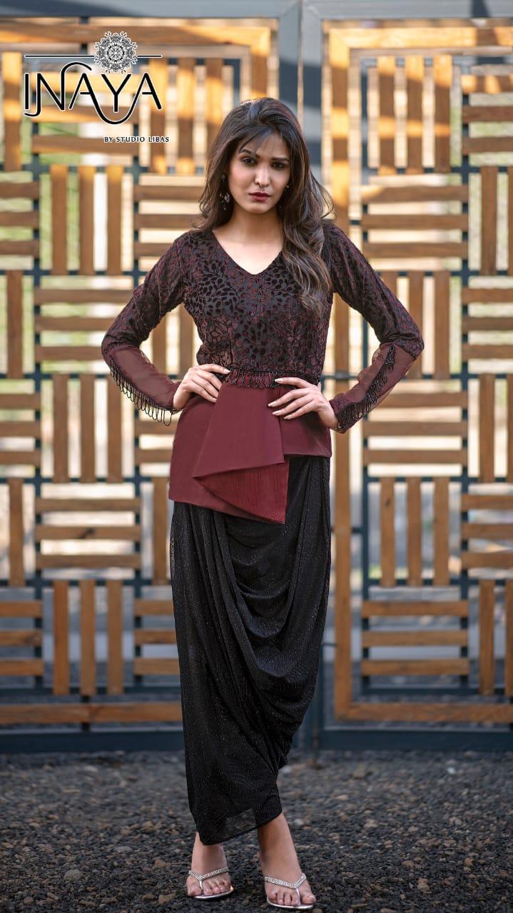 Inaya By Libas Studio Presents Lpc 77 Brasso Velvet Glamours Look Top With Designer Dhoti Skirt