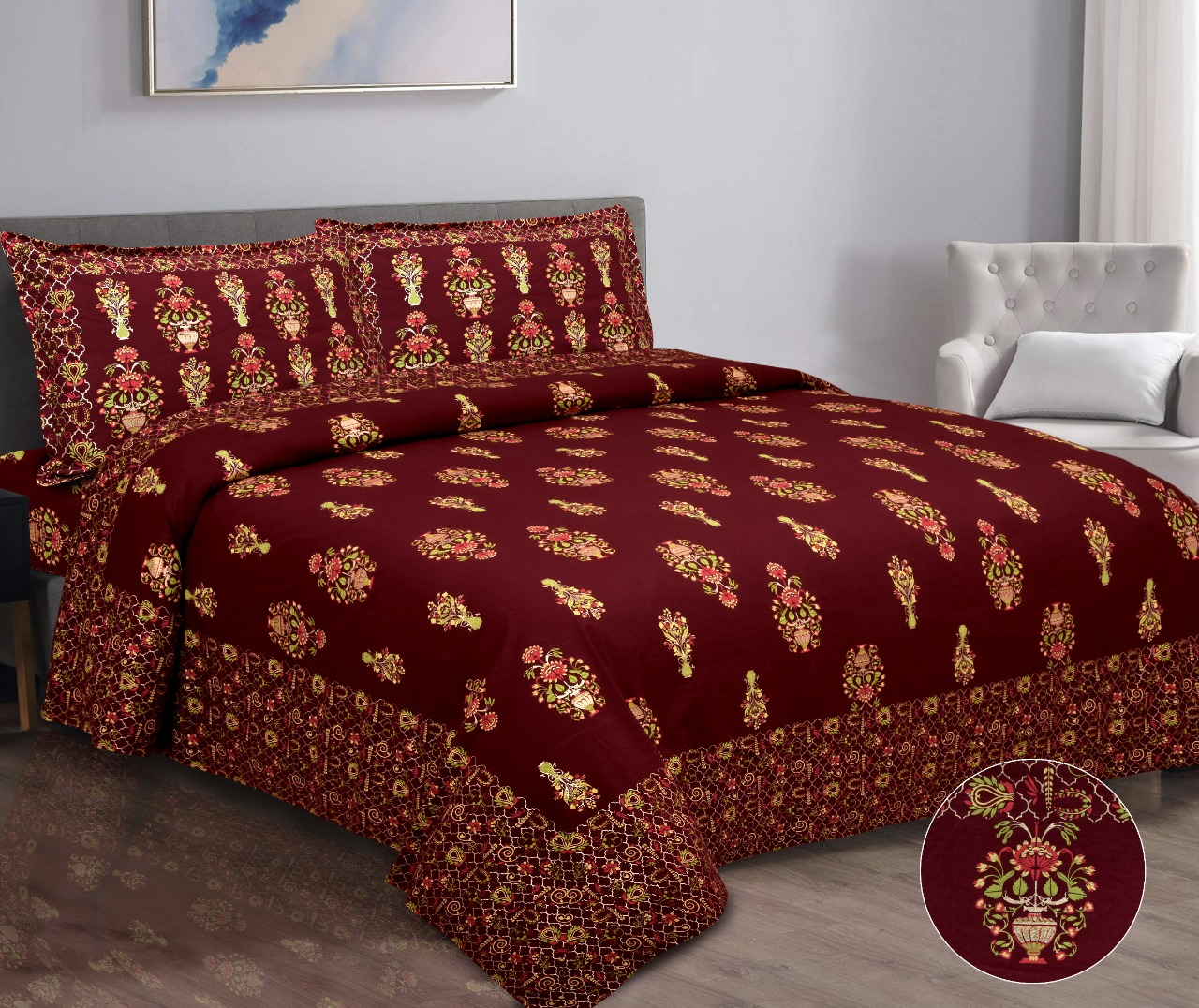 K4u Launch Gold Print New Design Cotton Exclusive Bedsheet With Matching Pillow Cover