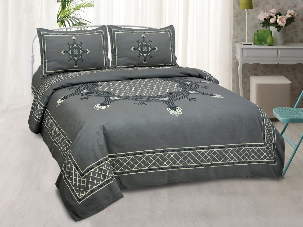 K4u Launch Inaaya King Size Cotton Attractive Design Bedsheet With Matching Pillow Cover