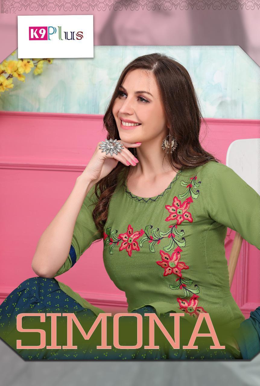 K9 Plus Launch Simona Rayon With Embroidery Work Readymade Long Kurti Sharara Skirt With Dupatta