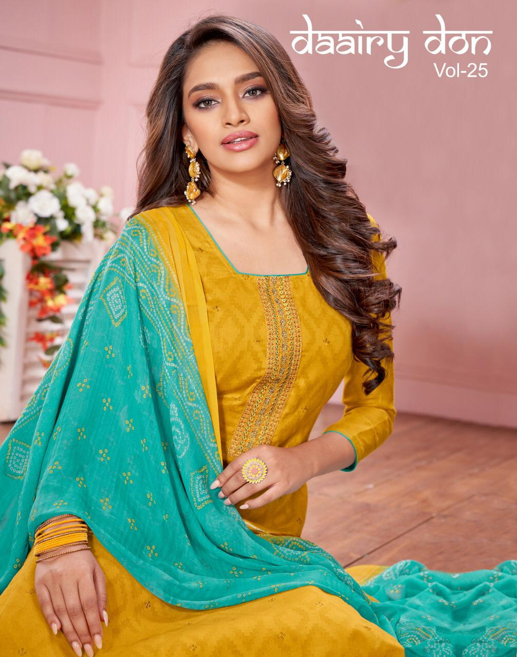 Kapil Trendz Daairy Don Vol 25 Jacquard Work With Fancy Lace Daily Wear Dress Materials