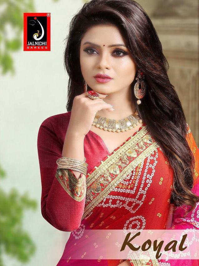 Koyal By Jalnidhi Moss Chiffon Bandhani Style Traditional Wear Saree