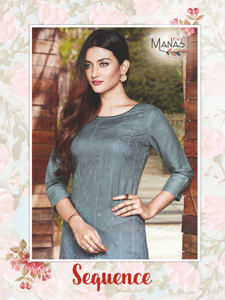 Manas Fab Launch Sequence Rayon Embroidery Work Casual Wear Kurti Catalogs Exporter
