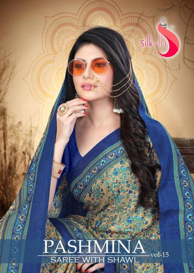 Pashmina Vol 15 By Silk Villa New Design Pashmina Print Saree With Shawal At Krishna Creation In India