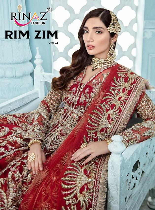 Rinaz Fashion Rim Zim Vol 4 Butterfly Net With Embroidery Work Bridal Collections Pakistani Suits