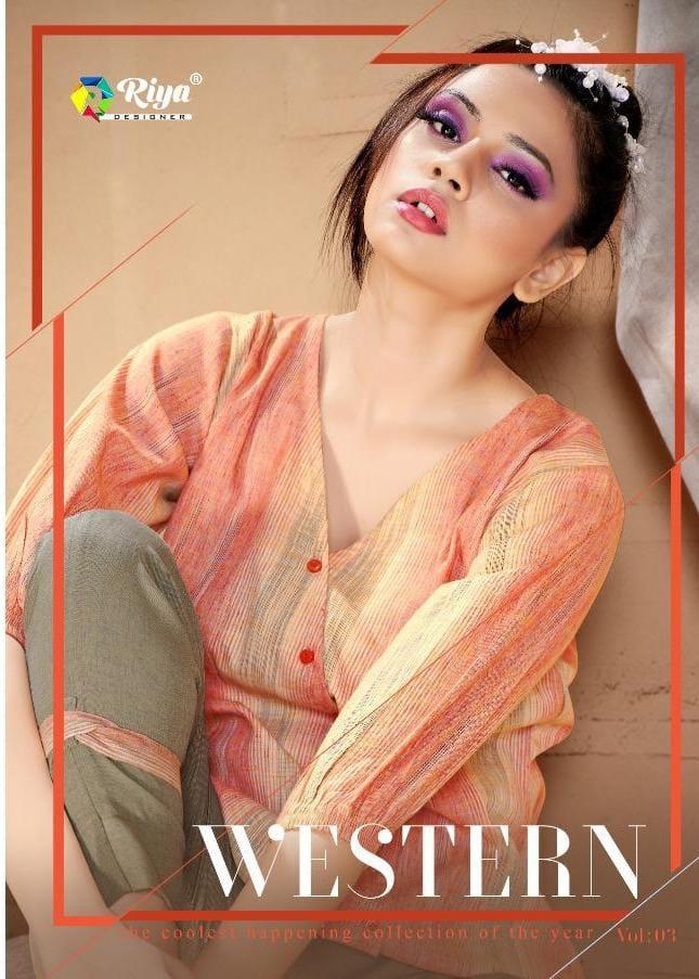 Riya Designer Western Vol 3 Handloom Cotton Classy Look Top With Bottom Set