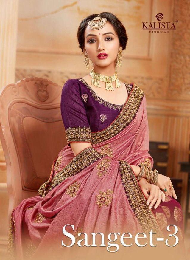 Sangeet Vol 3 By Kalista Heavy Look Fancy Wedding Wear Designer Half Half Pattern Saree