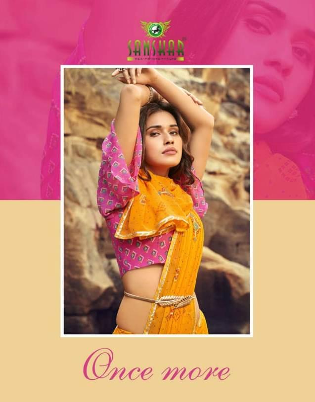 Sanskar Tex Prints Once More Casual Wear Exclusive Printed Georgette Fancy Border Saree