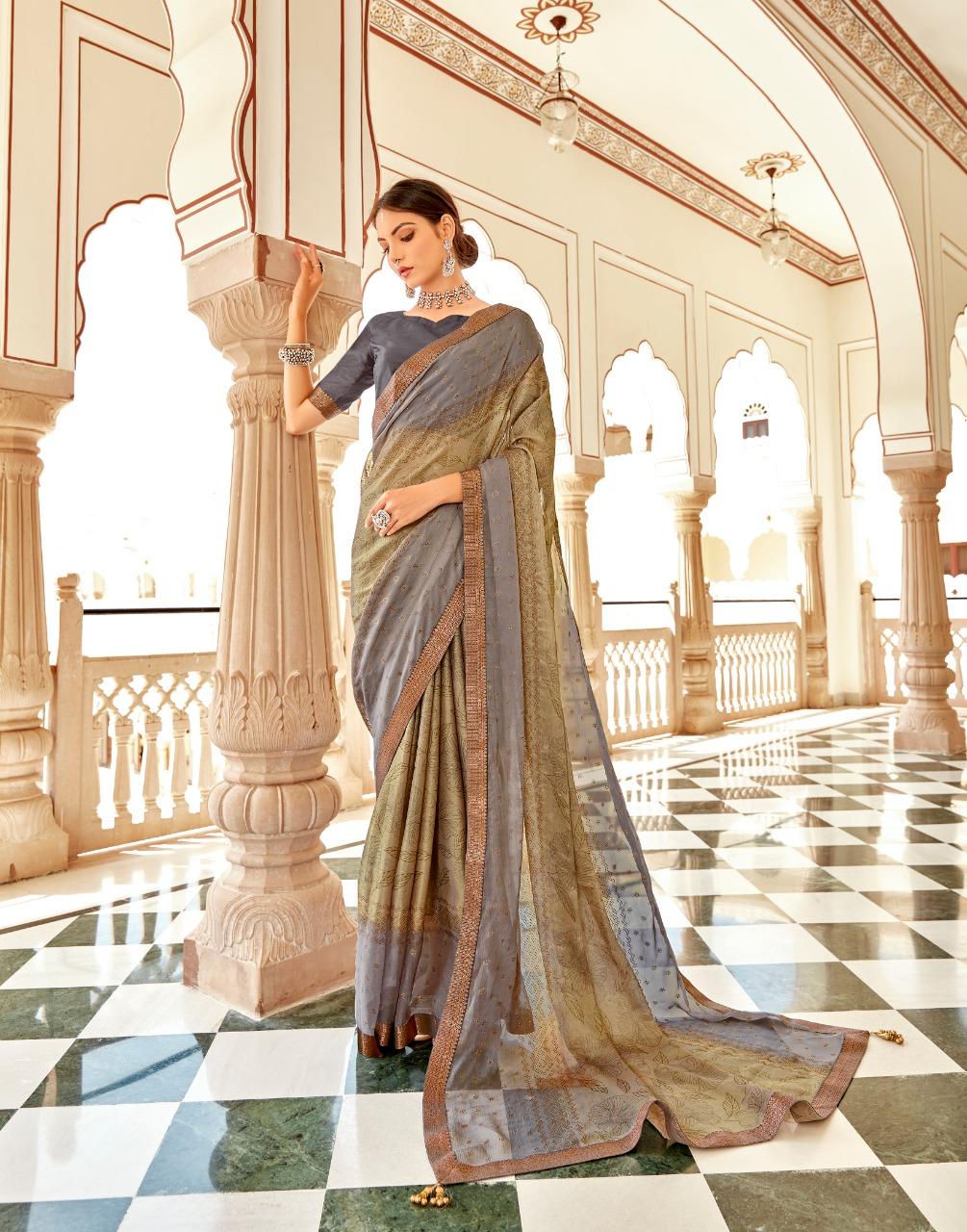 Sutra By Vallabhi Chiffon Brasso Printed Classy Look Elegant Saree