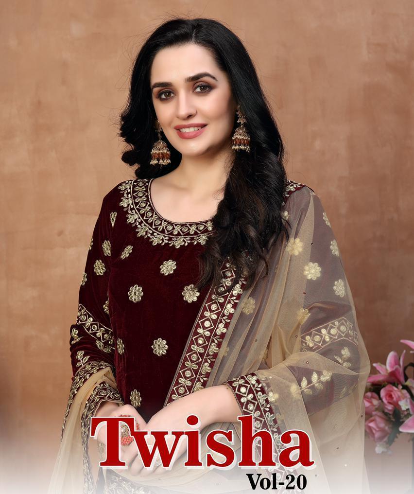 Twisha Launch Twisha Vol 20 Velvet Designer Party Wear Salwar Kameez In Surat