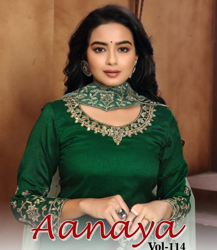 Twisha Presents Aanaya Vol 114 Art Silk Glamours Look Designer Salwar Suits Catalogs