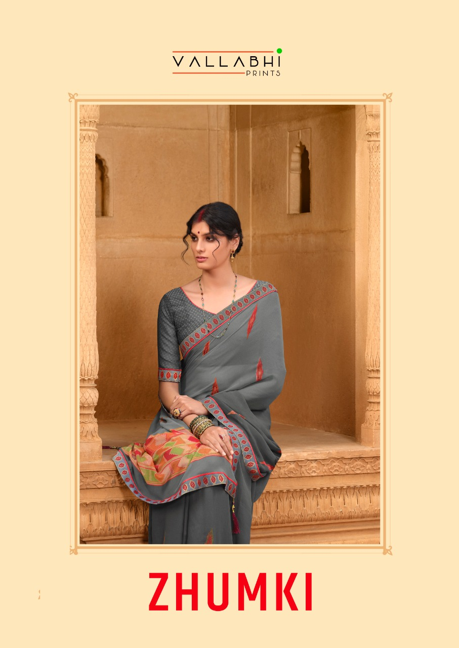 Vallabhi Launch Zhumki Weightless Printed Casual Wear Fancy Saree